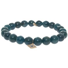 SYDNEY EVAN Eye Pendant Bracelet ($415) ❤ liked on Polyvore featuring jewelry, bracelets, evil eye pendant, drusy pendant, blue jewelry, 14k jewelry and carved pendant