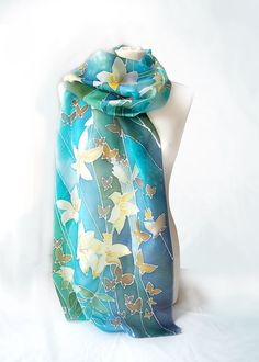 Scarf White Lilies  silk scarf Lilies  hand painted by MinkuLUL