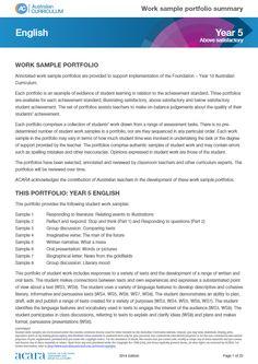 Year 5 work sample portfolio - above satisfactory