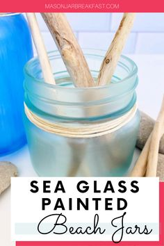Do you like beach house décor? These Sea Glass Painted Beach Jars are a simple, inexpensive way to add beach inspired decoration into your home. This Mason jar craft requires only a handful of materials, most of which you likely have at home right now. Have fun accessorizing these beach Mason jars with driftwood, stones, shells, sea glass, sand dollars, coral, plants, and sand collected from your favorite beach. #beachhousedecor #masonjarcrafts #masonjarcenterpieces #masonjarprojects Mason Jar Meals, Mason Jar Gifts, Mason Jar Diy, Beach Jar, Beach Mason Jars, Easy Diy Crafts, Jar Crafts, Mason Jar Breakfast, Mason Jar Projects