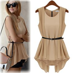 Hot 2014 European Style Spring&Summer All-match Chiffon Slim Dress Sleeveless Tops Fashion One Piece Dress Free Sashes 01534