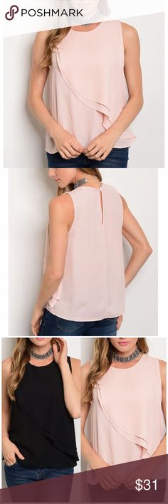 """Blush Pink Ruffle Sleeveless Top Blush Pink Ruffle Sleeveless Top. 100% polyester. Featuring a round neckline. Layered Chiffon. Measurements for small Length 23"""" Bust 38"""". Available in Black in my closet Lulupie Tops"""