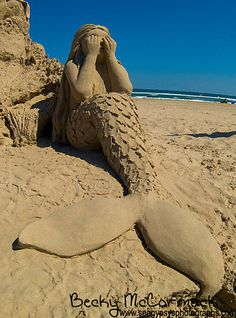 Mermaid Sand Castle Photograph Fine Art Beach by Seagypsys on etsy , I remmember back in summer Mermaid Art, Mermaid Sculpture, Ice Art, Snow Sculptures, Snow Art, Beach Art, Sand Beach, Mermaids And Mermen, Under The Sea