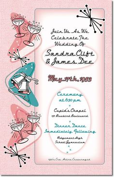 Fabulous Fifties Vintage Wedding Invitationis a fun way to add some retro style to your event. In classic pink and blue, it's great for a 50s Rock N Roll, Sock Hop, Grease, or American Graffiti theme wedding, or for any couple that loves classic cars, atomic age, and that fabulous 1950s style.
