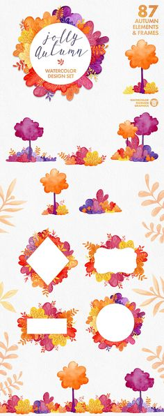 Watercolor Autumn Scene Creator - Illustrations - 1