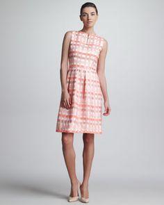 Split-Neck Check Jacquard Dress, Bright Coral by Lela Rose at Bergdorf Goodman.