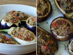 Quinoa & Tomato Stuffed Eggplant