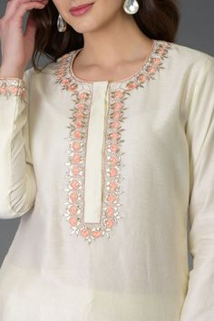 Ivory Resham Gota Patti an bhd Pearl Beads Farshi Palazzo Suit Embroidery Suits Punjabi, Hand Embroidery Dress, Kurti Embroidery Design, Embroidered Clothes, Modern Embroidery, Beaded Embroidery, Machine Embroidery, Neck Designs For Suits, Neckline Designs