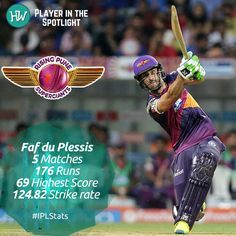Our Player in the Spotlight for Rising Pune Supergiants is Faf du Plessis! This South African is known for some powerful knocks but hasn't been able to contribute too well to his new team. #RPS are having a dismal campaign so far and they'll be hoping that he fires tonight! #IPL #SRHvRPS