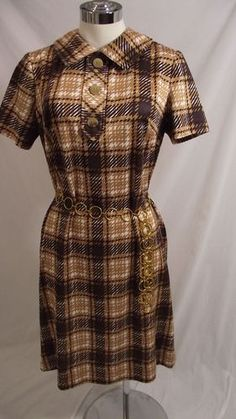 Vintage 60s Hovland Swanson Brown Plaid Silky Jersey Dress L Classic Day Dress | eBay