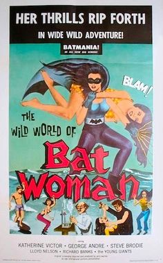 """WILD WORLD OF BATWOMAN 1966. Garage band, The Young Giants rock and roll on Malibu beach as a bevy of """"batgirls"""" twist, shimmy and shake their butts while """"extras"""" on the beach wave and flip the bird to the camera! On DVD."""