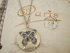 Silver Butterfly Locket  Melissa by BackstreetCreations on Etsy