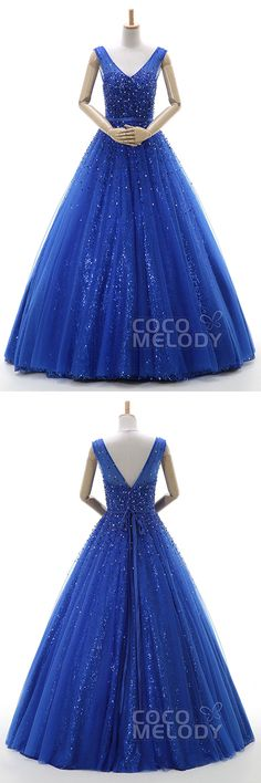 Hot Sale A-Line V-Neck Floor Length Tulle Sodalite Blue Zipper Quinceanera Dress with Ribbons and Sequin COZF15011 #occasiondresses  #a-linedresses #sleevelessdresses #cocomelody#v-neckdresses