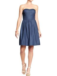 Women's Chambray Strapless Dresses Product Image