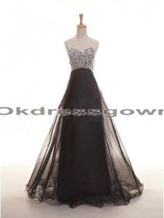 A Line Sexy Affordable Long Sweet Heart Black prom dress with Rhinestones