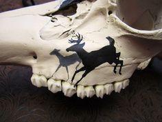 Sommers End Originals Michele (Erickson) Sommers. Painted Animal Skulls, Carved Skulls, Deer Skull Art, Skull Decor, Deer Head Decor, Antler Crafts, Deer Heads, Front Royal, Psychadelic Art