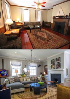 Here is some more before & after fun...a second floor family room that goes from blah to BAM! Now the homeowners can work, watch TV and play music, all with an incredbile view and an adjoining piazza. #interiordesign #decorating #decor #familyroom #luxe #beforeandafter #homemakeover #charlestonsc