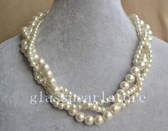 ivory pearl Necklaces,Twist Glass Pearl Necklace,Triple strand Pearl Necklace,Wedding Necklace,bridesmaid necklace,statement necklace by glasspearlstore on Etsy https://www.etsy.com/listing/155682396/ivory-pearl-necklacestwist-glass-pearl