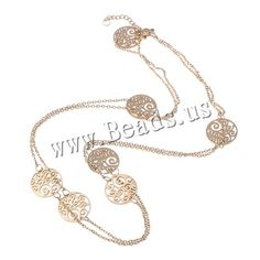 Stainless Steel Sweater Necklace, with 3cm extender chain, Flat Round, rose gold color plated, oval chain, 14x1mm,china wholesale jewelry beads
