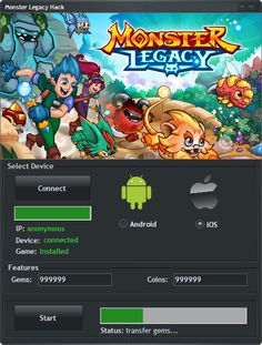 Monster Legacy Hack Tool (Android/iOS)   Monster Legacy Hack Tool(Android/iOS)  We want to present you an amazing tool calledMonster Legacy Hack Tool. With ourMonster LegacyTraineryou canget unlimited Gems and Coins (Generator).Our soft works on allAndroidand iOS devices. It does not require any jailbreak or root. OurMonster LegacyCheatis very easy to use. Just Connect your device select the device check the optionsyou want to add click on the buttonStartand youre done!MoreoverMonster…