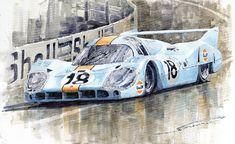 Yurly Shevchuk   WATERCOLOR    Porsche 917 Lh 24 Le Mans 1971 Rodriguez Oliver Painting