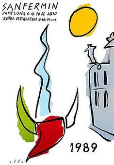 1989 Pamplona Spain Running of the Bulls Poster,pamplona,spain,españa,iruñea,pamplonada,san fermin,running of the bulls,spanish travel,travel poster,toro,vintage spain,bullfight,festival,Sanfermines,bull run,Estafeta