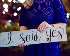 Hand Painted I Said Yes Engagement/Wedding Sign  Walnut Stain + Hand Painted  24 x 5.5  x .5  Perfect for proposal or engagement photos and