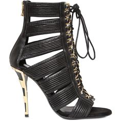 BALMAIN 110mm Hopi Leather Cage Sandals - Black (14 010 ZAR) ❤ liked on Polyvore featuring shoes, sandals, heels, scarpe, balmain, black, leather lace up sandals, high heel shoes, heeled sandals and lace-up heel sandals