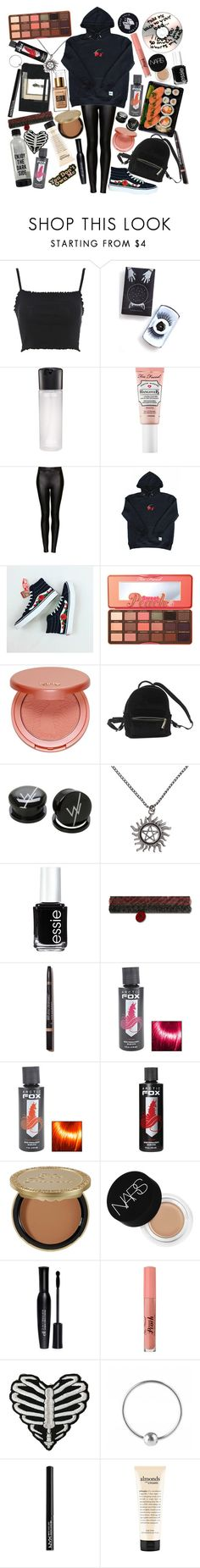 """If I tried to change my life one more day there would be nobody else to save. And I can't change into a person I don't wanna be"" by thelyricsmatter ❤ liked on Polyvore featuring Topshop, Black Magic Lashes, MAC Cosmetics, Too Faced Cosmetics, Moleskine, Wilt, tarte, Urban Outfitters, Hot Topic and Essie"