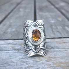 Citrine Boho Statement Ring Silver Roses, Flower Petals, Statement Rings, Hand Stamped, Class Ring, Gemstone Rings, Handmade Jewelry, Jewels, Boho