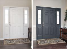 """"""""""" Painted Interior Front Door + GIVEAWAY – How to Nest for Less™ """""""" puerta interior antes y después """""""" Inside Front Doors, Front Door Trims, Front Door Entryway, Front Door Makeover, Front Door Decor, Entryway Paint, House Front Door, Interior Door Colors, Painted Interior Doors"""