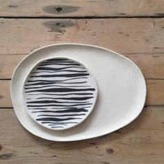 Striped Porcelain Plate - illyria pottery