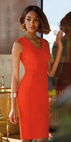 A StJohnKnits exclusive design: the new Luxe Sculpture Knit Dress looks refined like a woven but has the ease & fit of a knit. From the PreFall2015 Collection. Red BodyCon   sjk.com