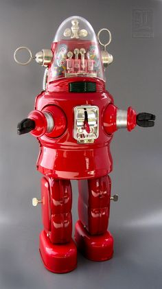 RED MECHANIZED ROBOT battery operated tin toy by Osaka Tin Toy Institute (OTTI)