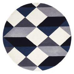 Dresden Navy & Grey Geometric Round Wool Rug