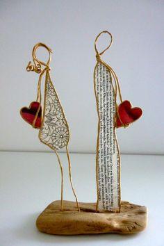 Les amoureux - figurines en ficelle et papier : Accessoires de maison par ficelleetpapier