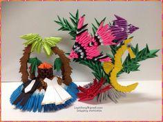 Aquatic Centerpiece -Tropical island - 3D Origami- Origami Decoration