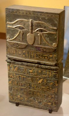 7th century BC box decorated with hieroglyphs of gold on its front side and hieroglyphs of a platinum-gold alloy on the back. The piece resides in the Louvre. The platinum alloy was discovered by notable chemist Marcellin Berthelot according to his reports in his 1901 work 'Comptus Rendus'. This is the oldest use of platinum we know.