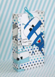 Robot Party Printable Favor Box & Personalized Tag by PixieBearParty on Etsy