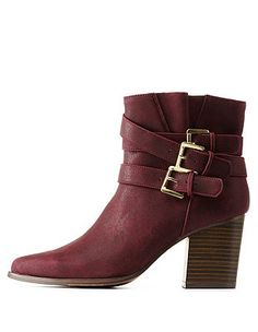 Qupid Pointed Toe Belted Booties: Charlotte Russe