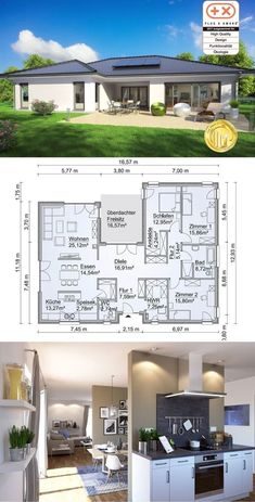 Bungalow Modern Country Style Architecture Design House Plans SH 169 WB - Dream Home Ideas with Open Floor and One Story Layout by ScanHaus Marlow - Arquitecture Contemporary European Styles House Plan and Interior with Kitchen Living Room Bathrooms Bedro House Layout Plans, House Plans One Story, Best House Plans, Country House Plans, House Layouts, Country Living, One Floor House Plans, Country Houses, Story House