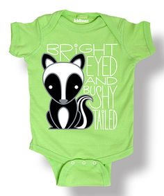 Loving this Key Lime 'Bright Eyed' Skunk Bodysuit - Infant on #zulily! #zulilyfinds
