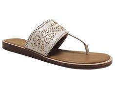 Coach Women's Bernice Thong Sandals Vegan Leather Chalk White Size 7.5 (B, M) #Coach #FlatThongSandals #CasualDress