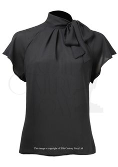 30s Tie Neck Blouse - ebony crepe More