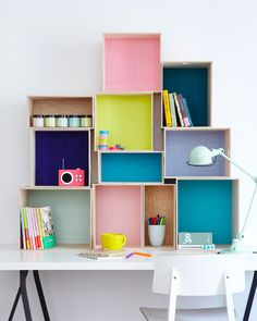 colorful creative home office inspiration with lots of shelves and storage. Box Shelves, Shelving, Wall Shelves, Shelf Desk, Crate Shelves, Diy Casa, Ideas Para Organizar, Kids Storage, Storage Ideas