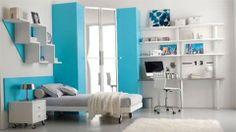 White And Ice Blue Theme Girls Bedroom Design With White Study Desks Plus Contemporary Shelves And Cute White Bed With Ice Blue Head Board Also Ice Blue Door On White Laminated Floor Decor 1920×1080 Cool rooms for girls