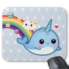 Cute baby narwhal with rainbow, clouds and stars mouse pads
