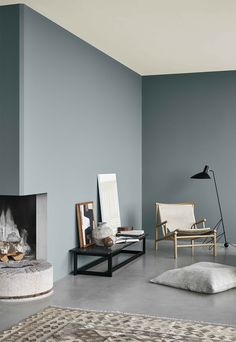Interior Wall Colors, Bedroom Wall Colors, Living Room Colors, Living Room Paint, Interior Walls, Home Living Room, Hall Colour, Blue Wall Colors, Color Walls