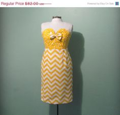 SALE Womens Vintage Inspired Yellow Chevron and by offbeatvintage, $73.80