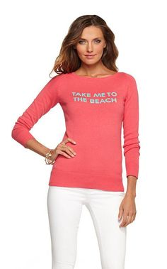 """Lilly Pulitzer Resort '13- Marielle Sweater in """"Take Me To The Beach"""" Intarsia"""
